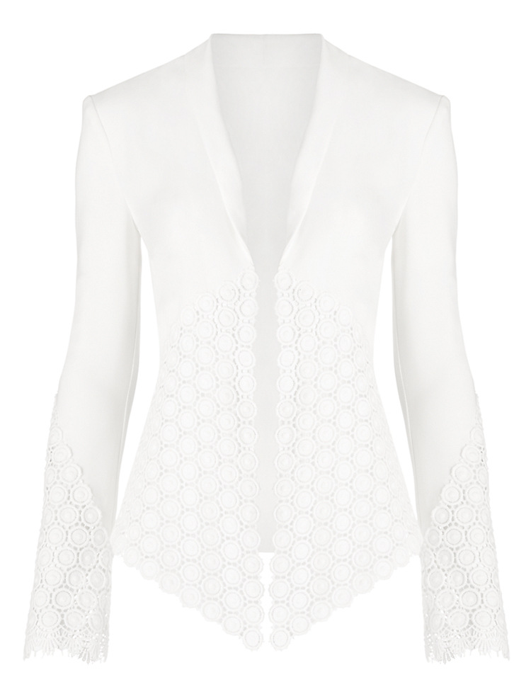 EIJOQAN Summer Autumn New Lapel Long sleeves Lace splicing temperament Slim Lady's cardigan jacket Casual white A242