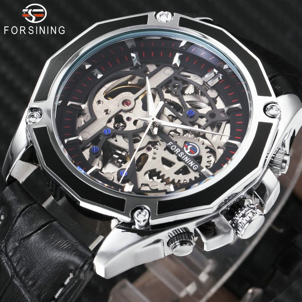 FORSINING 2018 Auto Mechanical Watch Men Leather Strap Fashion Mens Watches Top Brand Luxury WINNER Golden Skeleton Automatic winner mens watches top brand luxury leather strap skeleton skull auto mechanical fashion steampunk wrist watch men gift box