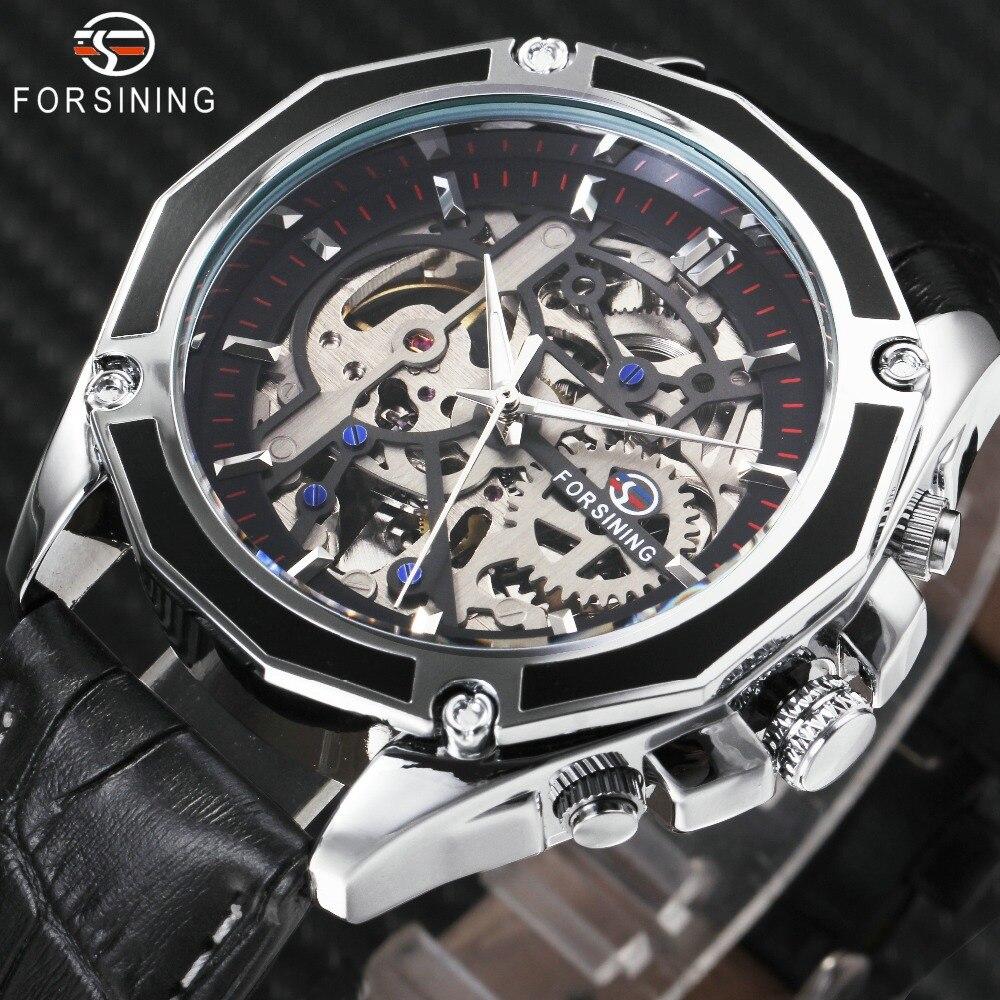 FORSINING 2018 Auto Mechanische Uhr Männer Lederband Mode Herren Uhren Top Brand Luxus GEWINNER Goldene Skeleton Automatische