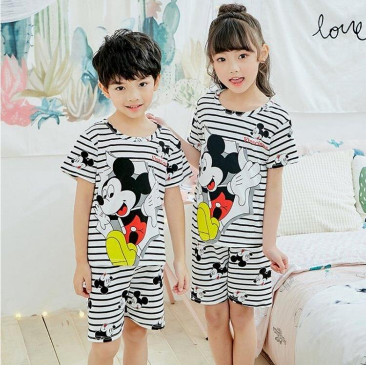 Summer 2019 Boys Girls Kids home Clothing Cartoon short Sleeve baby Sleepwear Suit Children's Day gifts   Pajamas     set   for childre