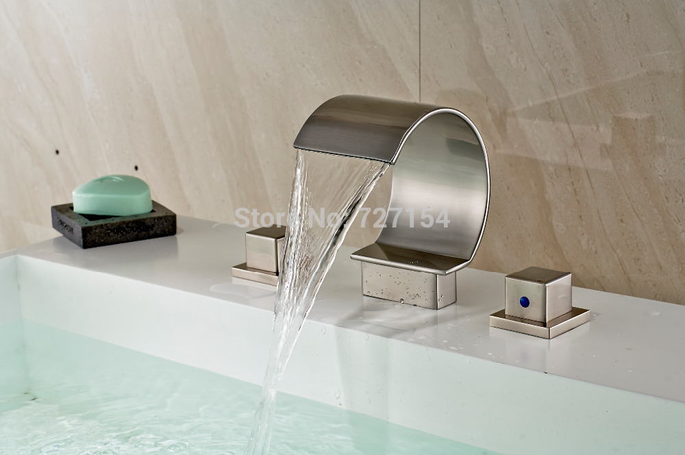 Free Shipping! Dual Square Handles Bathroom Basin Faucet Deck Mounted Sink Mixer Nickel Brushed