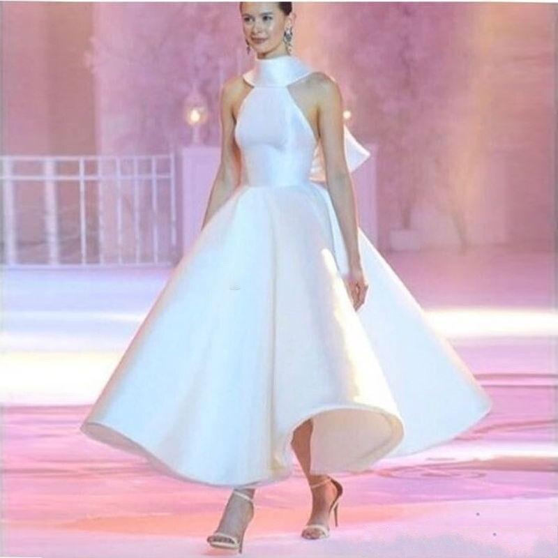 Sans Dos Cheville Longueur Formelle Col Satin Élégant De Longue Bal Robes Nu Femmes Manches Blanc Haut Soirée 87AHqv