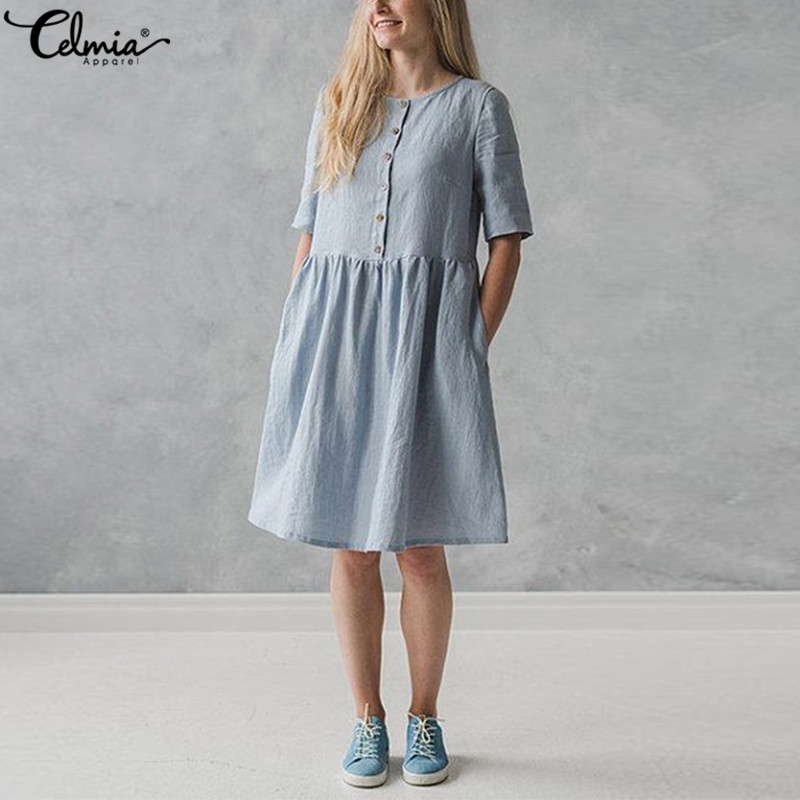8d8d30b2458 ... Vintage Linen Shirt Dress Women Short Sleeve Button Down Solid Casual  Party Dresses Summer Sarafans Vestidos Robe. -27%. Click to enlarge