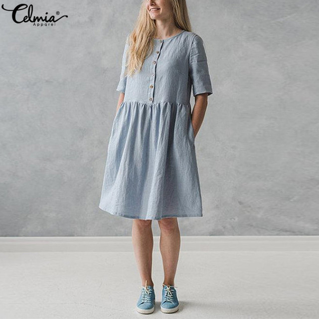 e6caa6aef1c 2018 Celmia Vintage Linen Shirt Dress Women Short Sleeve Button Down Solid  Casual Party Dresses Summer