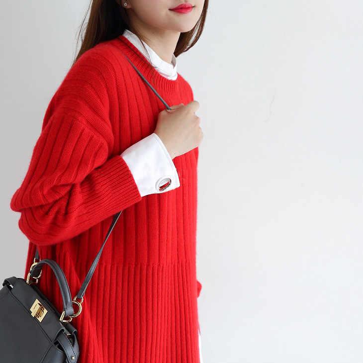 2018 mùa thu mới phụ nữ lỏng lẻo áo len cashmere áo len o-cổ dài tay áo chui đầu mùa đông ấm nữ dày dệt kim