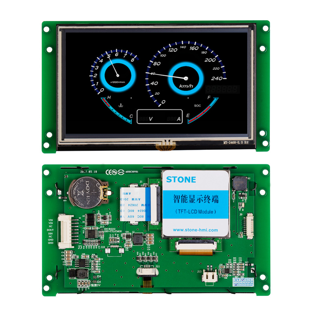 5 Inch Intelligent TFT LCD Touch Module with CPU+ Controller + Program to Replace HMI & PlC