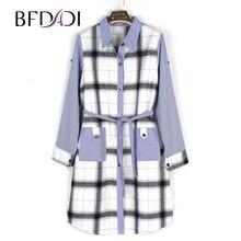 1848 BFDADI ขายร้อนผู้หญิงยาวเสื้อและเสื้อหญิงสบายๆลายสก๊อตแขนยาวหลวมขนาดใหญ่