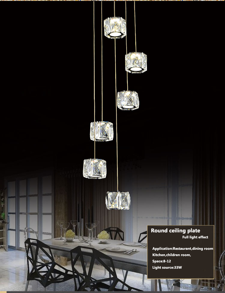 CE,ROSH,FCC certificates factory price modern crystal chandelier for dining room,restaurant ,kitchen home decoration