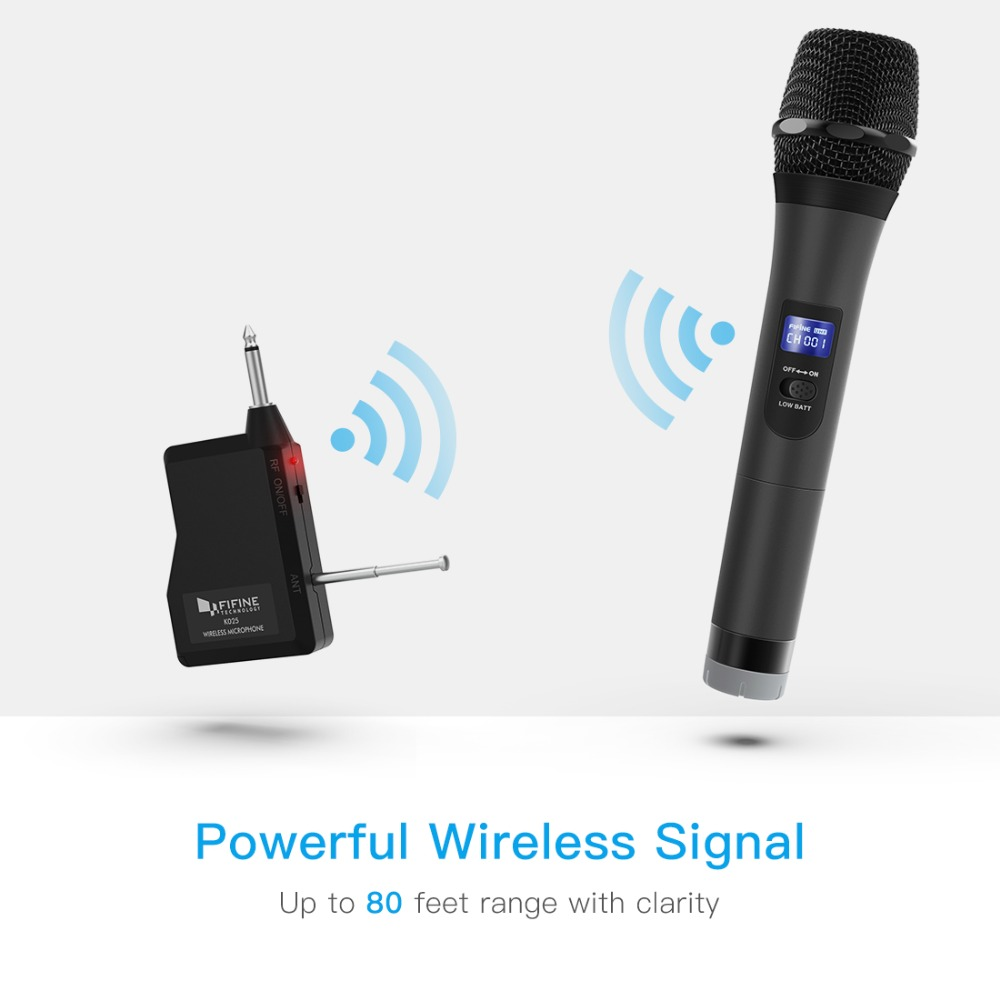 FIFINE UHF Wireless mic System for Outdoor part small stage Bar Live Show Family ktv with Handheld Microphone Receiver k025-1 3