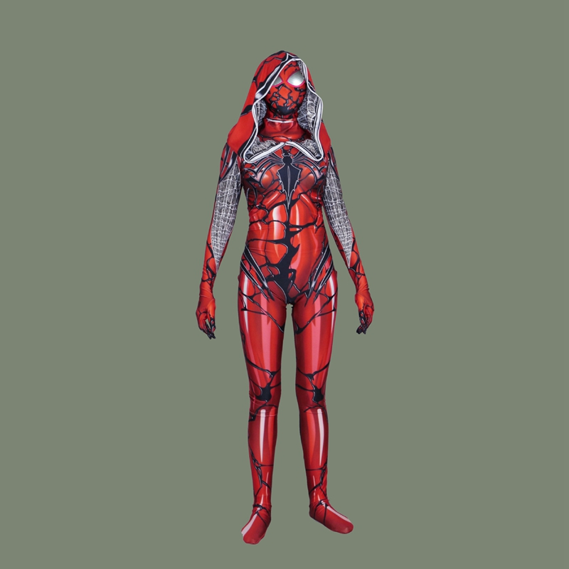 FOGIMOYA Red Carnage Venom Spider Scarlet blood Gwen Stacy Cosplay Costume Spiderman Zentai Superhero Bodysuit Suit Jumpsuits