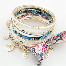 xiacaier Flower Bangle Simulated Pearl Beads Lace Bow Multilayer Gold Color Braided Bracelets & Bangles For Women Jewelry Gift