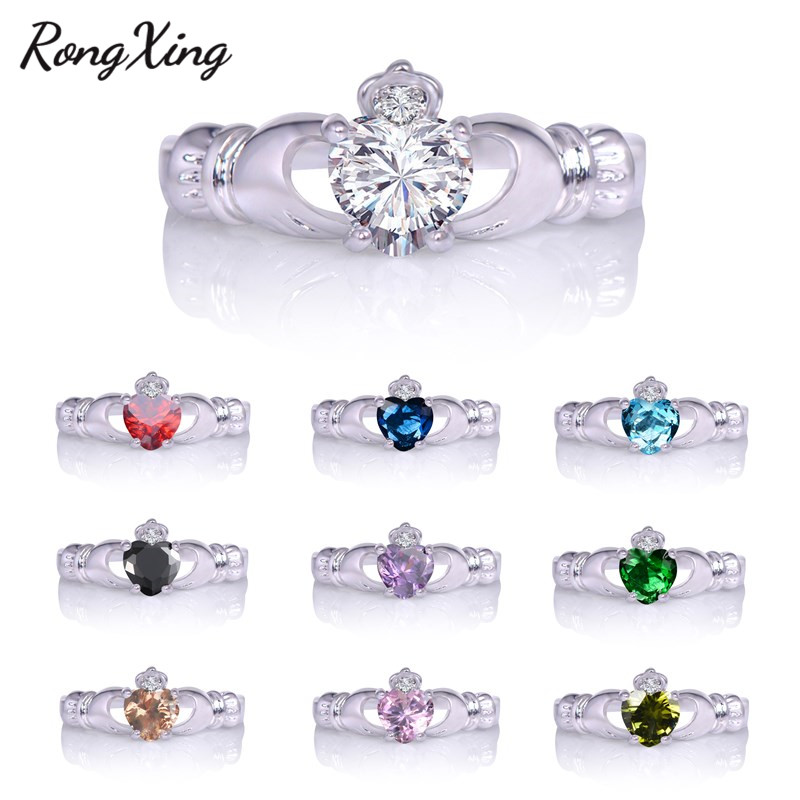 RongXing 2017 New Irish Celtic Crown Heart Claddagh Wedding Promise Ring For Women White Gold Filled Colorful Zircon Ring RW1098