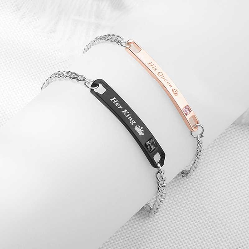 Amante casais pulseiras sua rainha seu rei amor pulseira de cristal coroa charme masculino feminino jóias pulseira femme charme presente