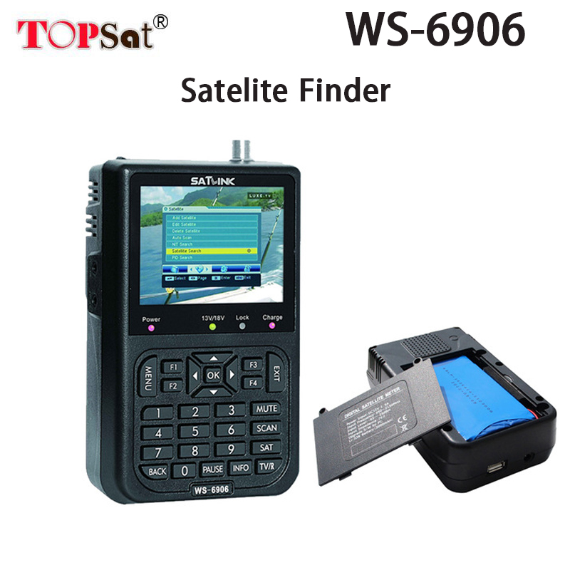 Satlink WS-6906 DVB-S FTA Digital Satellite Finder Meter Satellite Signal WS 6906 3.5 inch LCD with 3000mAh Battery satlink ws 6979se satellite finder meter 4 3 inch display screen dvb s s2 dvb t2 mpeg4 hd combo ws6979 with big black bag