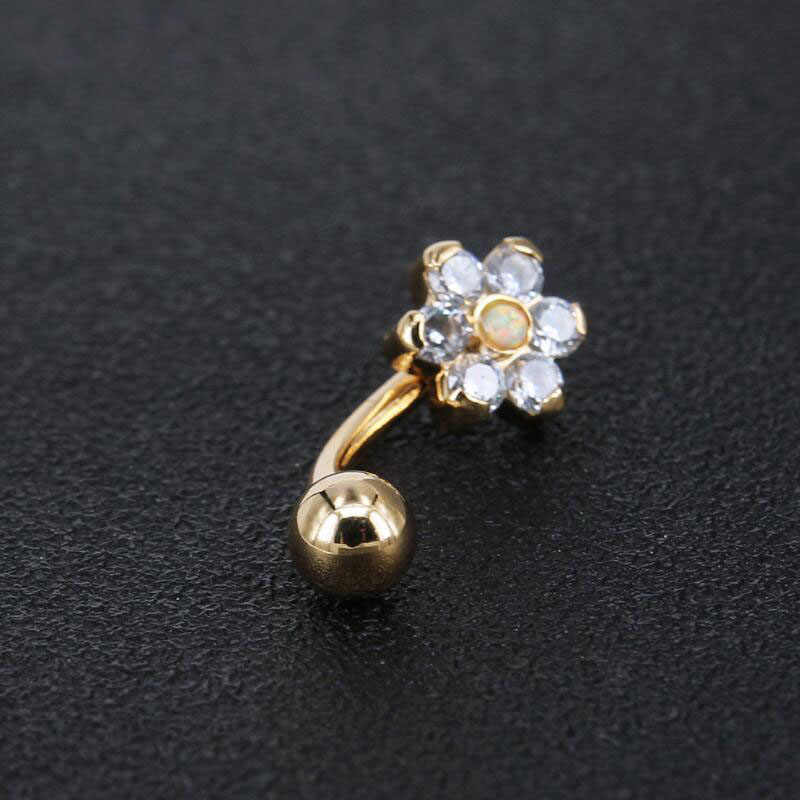 Body Piercing Jewelry White Color Zircon Flower Shaped Belly Button Ring Stainless Steel Opal Navel Piercing