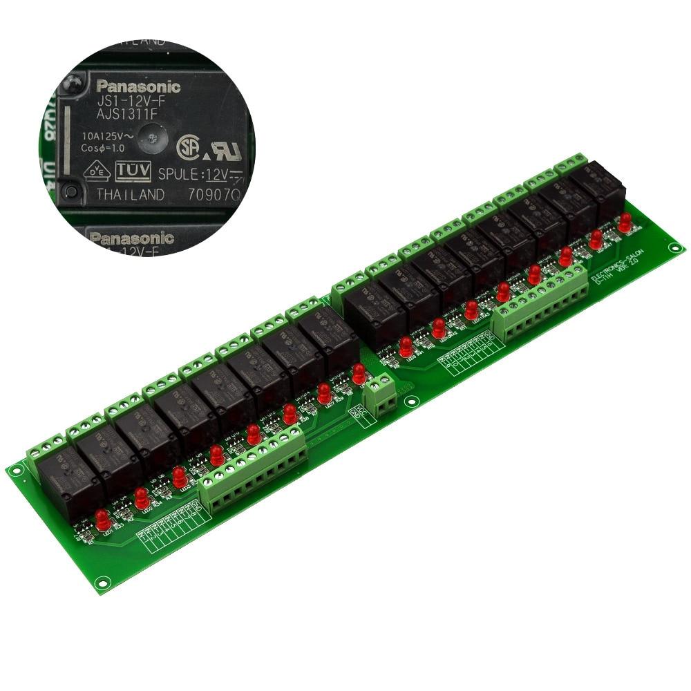 Electronics-Salon 16 SPDT 10Amp Power Relay Module, DC 12V Version.