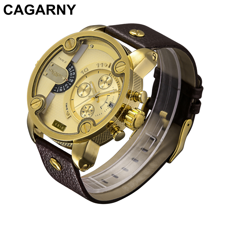 Cagarny Quartz-Watch Men Casual Men's Quartz Watches Golden Sport Russian Army Military Watch Man Dual Time Zone Display Clock weide new men quartz casual watch army military sports watch waterproof multiple time zone alarm men watches alarm clock camping