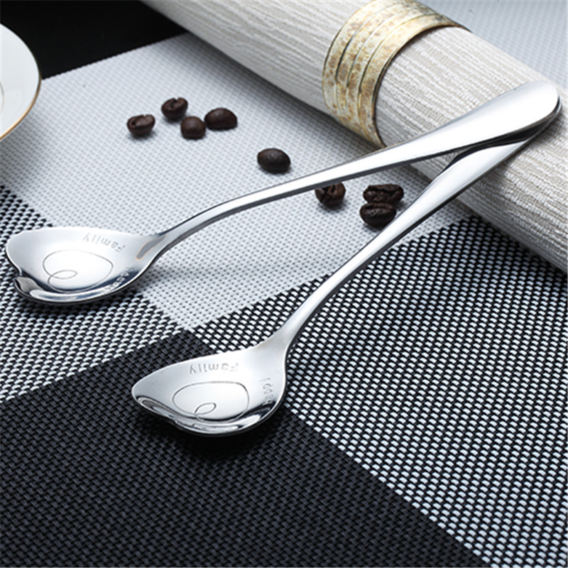 1Pcs Stainless Steel Sweet Heart Shaped Love Coffee Spoon Teaspoon Silver Perfect New
