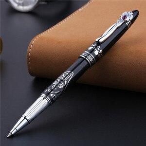 Image 2 - Bolígrafo De Bola metálico de alta gama Clip plateado de moda con rotuladores negros de gemas con una caja de regalo de lujo regalo de oficina de negocios regalo de Navidad