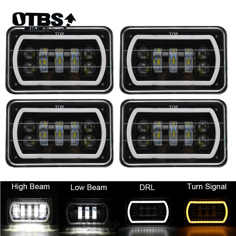 Truck 4X6 Inch Led Square Headlight White Halo DRL Yellow Turn signal Sealed Beam Conversion Headlights For Ford Trucks offrord