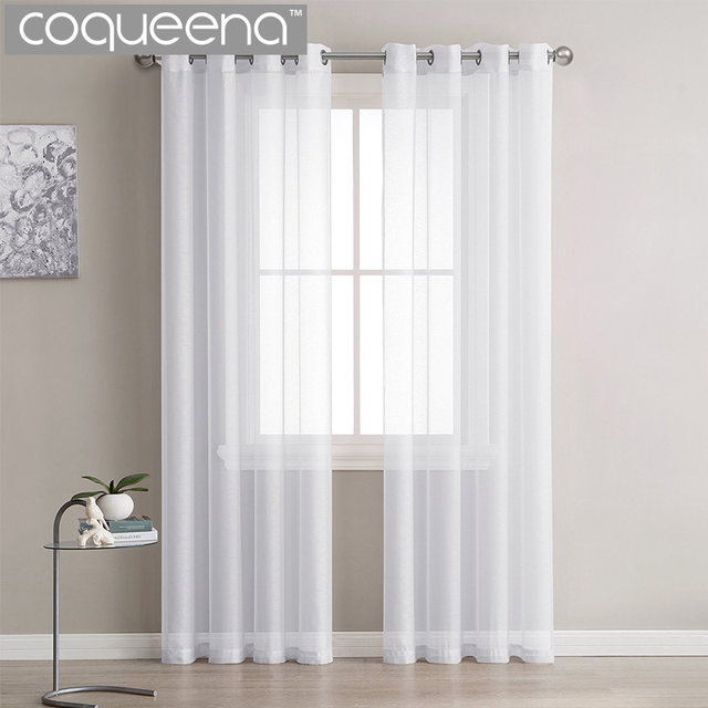 Online Shop Modern Plain White Sheer Curtains Kitchen Voile Tulle ...