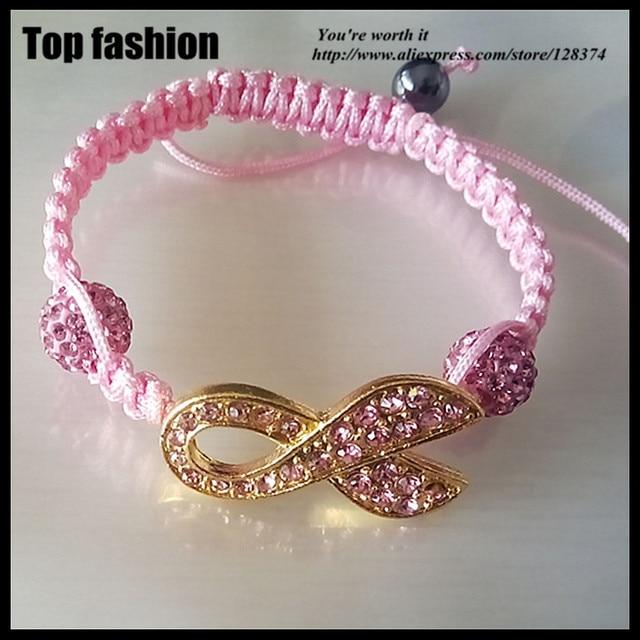 D 065Crystal Shamballa perle Rosa Strass Gold Band armband e1ef43642e94c