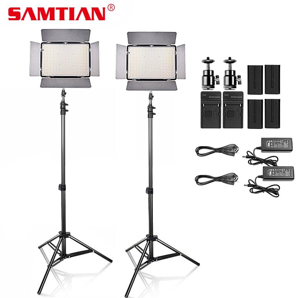 SAMTIAN 2 комплекта затемнения 2000Lm 3200-5600 К 600 шт. светодиодный видео фотостудия свет комплект для съемки видео светодиодный Панель со штативом