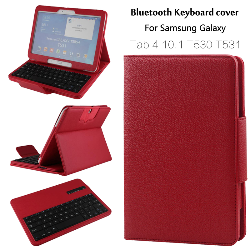 For Samsung GALAXY Tab 4 10.1 T530 T531 T535 Removable Wireless Bluetooth Keyboard Portfolio Folio PU Leather Case Cover + Gift removable wireless bluetooth russian hebrew spanish keyboard stand pu leather case for samsung galaxy tab a 9 7 t555 t551 t550