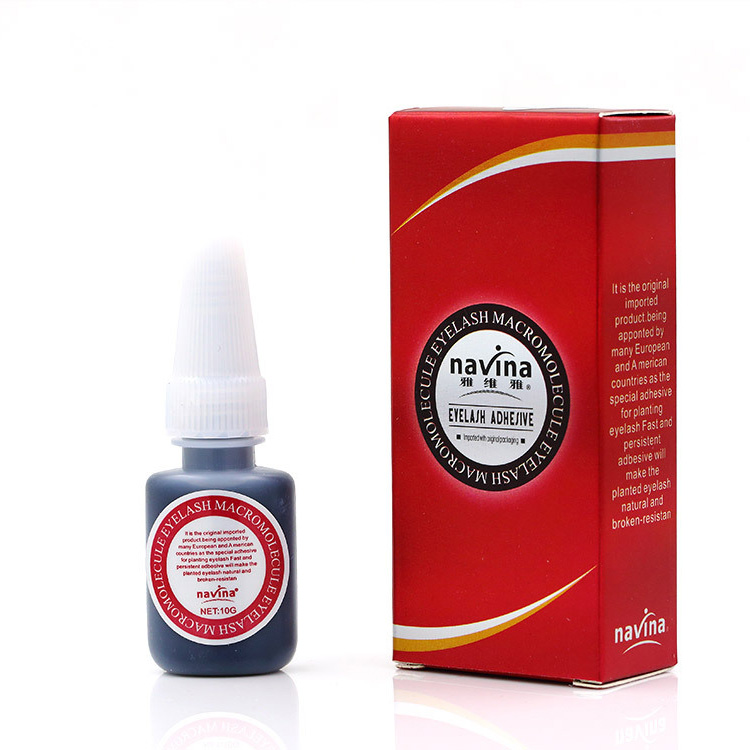 Navina Red Box Professional 10ml Eyelash Glue Makeup Liquid Strong Effect Black Glue Adhesive Eyelash Glue None odor