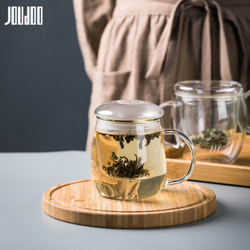JOUDOO 500ML Brief Glass Water Cup With Glass Filter Heat Resistant Tea Cups Office Home Hot Tea Coffee Milk Mug With Lid 35 in Transparent from Home Garden