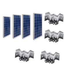 Waterproof Solar Panel 12v 100w 4 Pcs Kit Mount Z Bracket Battery Charger Home System Off Grid