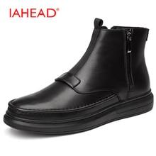 Iahead Для мужчин Ботинки Челси Мужские Ботинки Натуральная кожа Обувь На зиму; высокого качества Туфли без каблуков повседневная обувь Для мужчин ковбойские ботинки Для мужчин S MH572