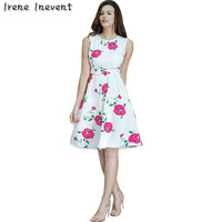 Irene Inevent Women Summer Dress 2017 Vintage Floral Print 50s Style Dress Women O Neck Sleeveless