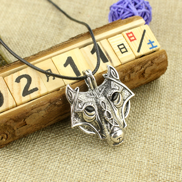 US $1 0 20% OFF|Cool Norse Vikings Amulet Necklace Punk Nordic Talisman  Wolf Head Pendant Charm Gift For Men Fashion Accessories Movie Jewelry-in
