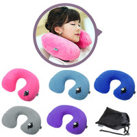 Inflatable U Shape Neck Pillow Car Airplane Travel Office Pillows Headrest Air Cushion Soft Feeling Long