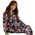 2016 Nuevo Más El Tamaño de Los Pijamas de Las Mujeres Feminino Pijama Pijamas Set de manga Larga Primavera y el Otoño Femenino Estampado floral ropa de Dormir