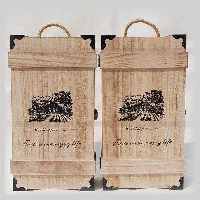 Super Drewniane pudełko na wina opakowania na prezenty pudełko podwójne AV43