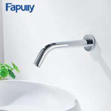 Fapully Chrome Basin Sensor Faucet Automatic Faucets Bathroom Wall Mounted Chrome Cast Hot and Cold Sensor Water Mixer Tap 232 стоимость
