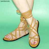 NAYIDUYUN Womens Faux Suede Strappy Roman Gladiator Sandals Lace Up Party Thong Flat Oxfords Open Toe