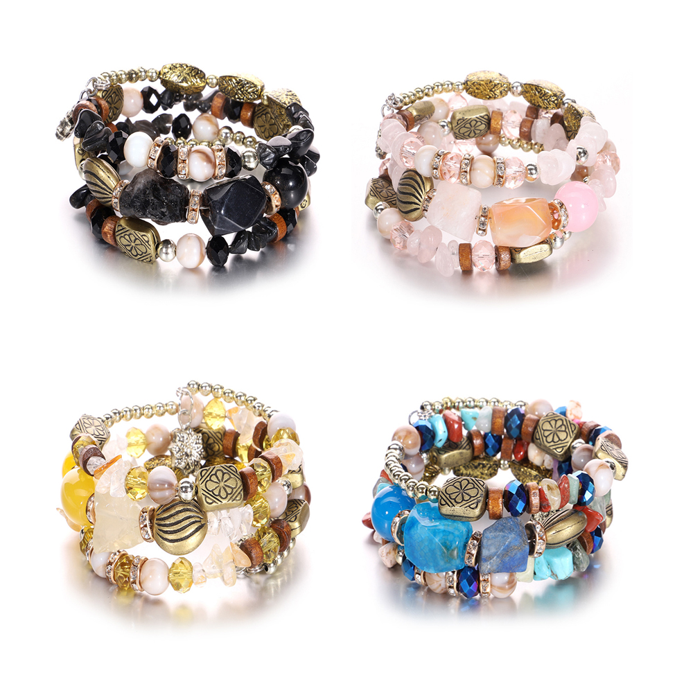 Fashion Alloy Resin Crystal Beaded Winding Bracelet For Woman Bohemia Retro Bracelet Multiple Styles Jewelry Wholesale