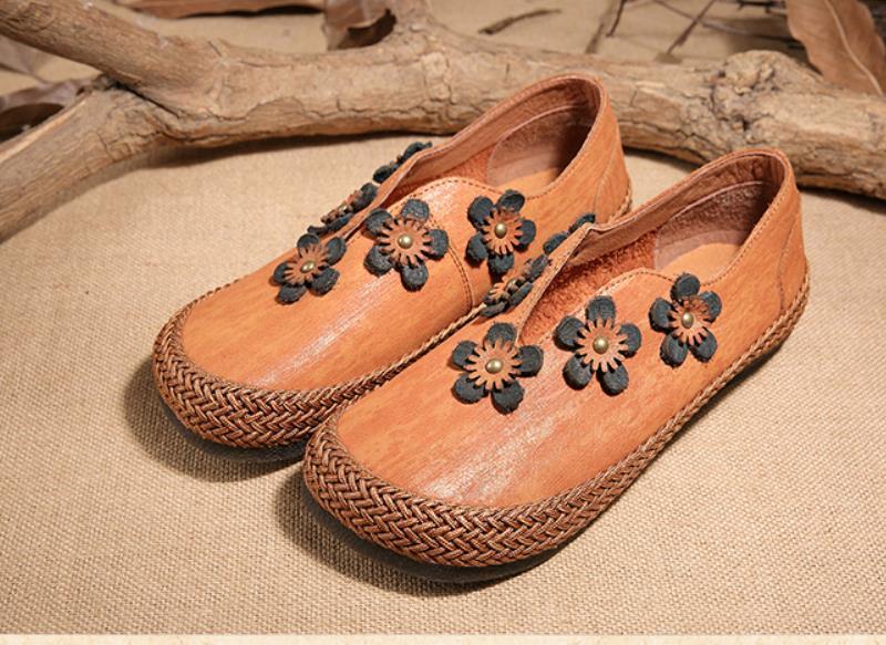 Femmes knittingantique main ronde headsoft bas chaussures pour femmes directe d'usine saleRetro Fleur chaussures pour femmes