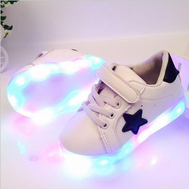 Crianças Sapatos Com Luz Chaussure Enfant Led Primavera Outono Novas Estrelas Led Meninas Meninos Sapatilhas Sapatos Calçados Esportivos Respirável