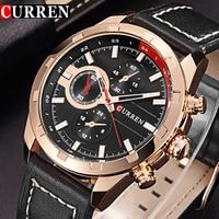 Curren Men S Watches Men Sport Quartz Watch Men Leather Strap Casual Military Watches Gold Waterproof