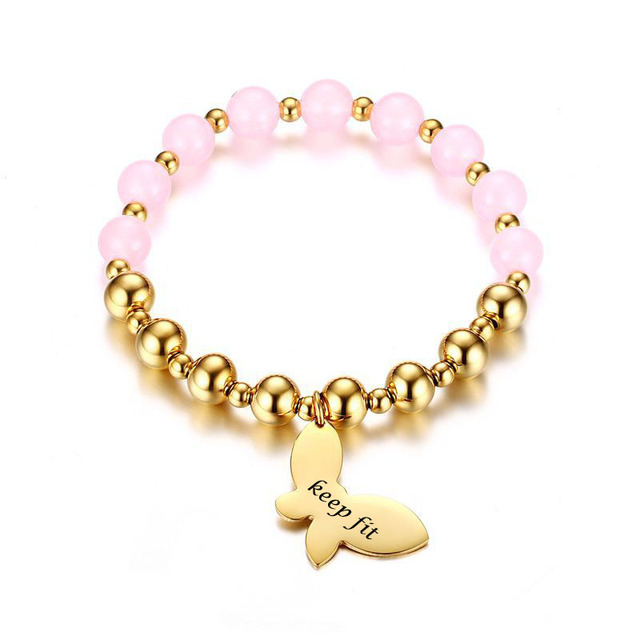 Pink Stones Beaded Bracelets 8mm Stainless Steel Butterfly Charm
