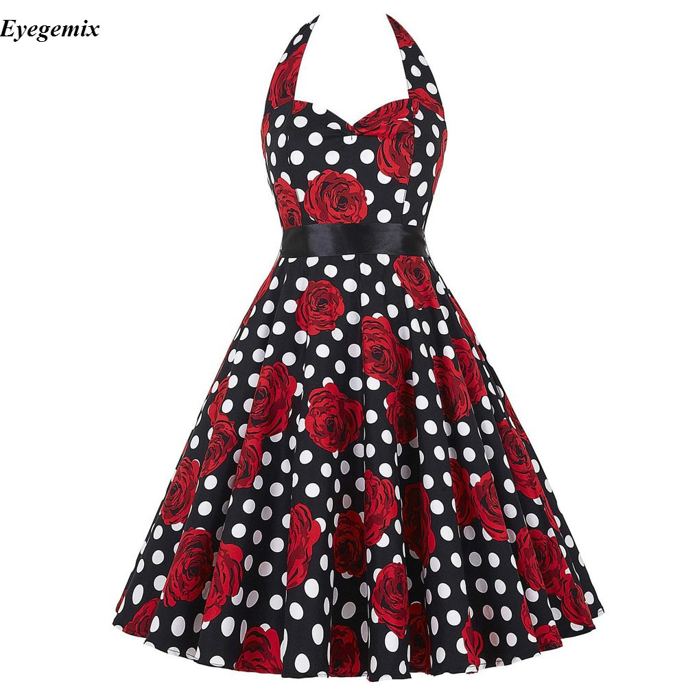 Get-in Floral Print Vintage Dress Women Pin Up Dresses 50s Rockabilly Casual Party Dresses Vestidos Mujer