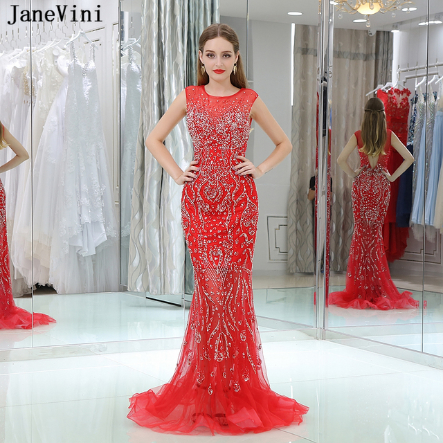 JaneVini Red Sparkly Bridesmaid Dresses 2018 Mermaid Tulle Long Prom Dress  Luxurious Beaded Sequined Formal Pageant Party Gowns 4699238acd1b