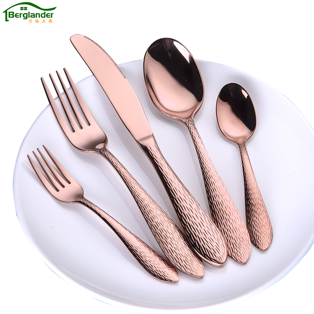 berglande 20 pcs set stainless steel cutlery set rose gold dinnerware gold silverware black. Black Bedroom Furniture Sets. Home Design Ideas