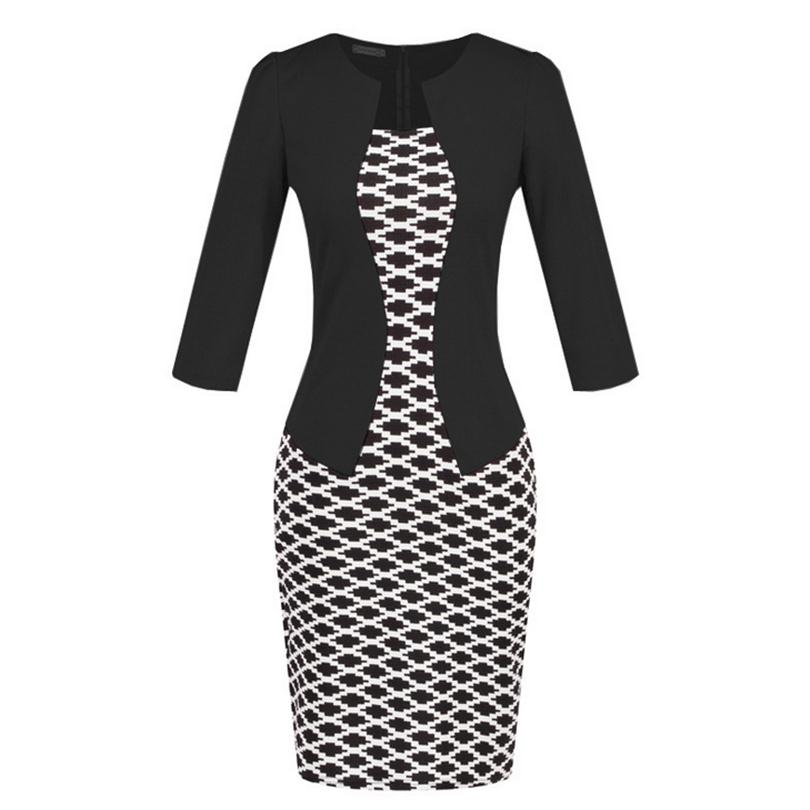 2018 Women New Fashion Autumn Spring Style Faux Two Piece Elegant Plaid Long Sleeve Pencil Dresses Office Wear Work Outfits 1