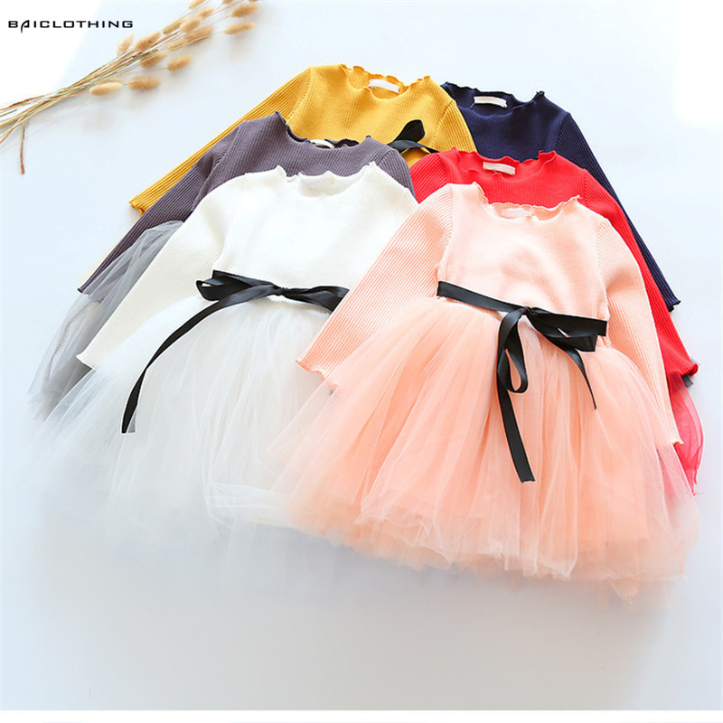 2017 New Sprining Children Clothes Girls Dress Long Sleeve Child Girls Voile Dress Princess Dress Ball Gown Dress For 2-7Y 4pcs new for ball uff bes m18mg noc80b s04g