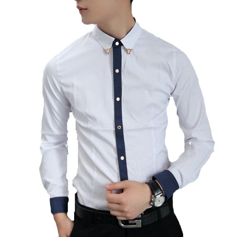 product Winter influx of Men Korean Fashion Slim Harmonia placket Metal buckle Collar Long-sleeved Shirt Sky Blue/Dark Blue M-XL